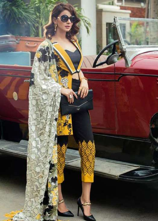 Erum Khan By Zohan Embroidered Cotton Unstitched 3 Piece Suit EK17E2 01