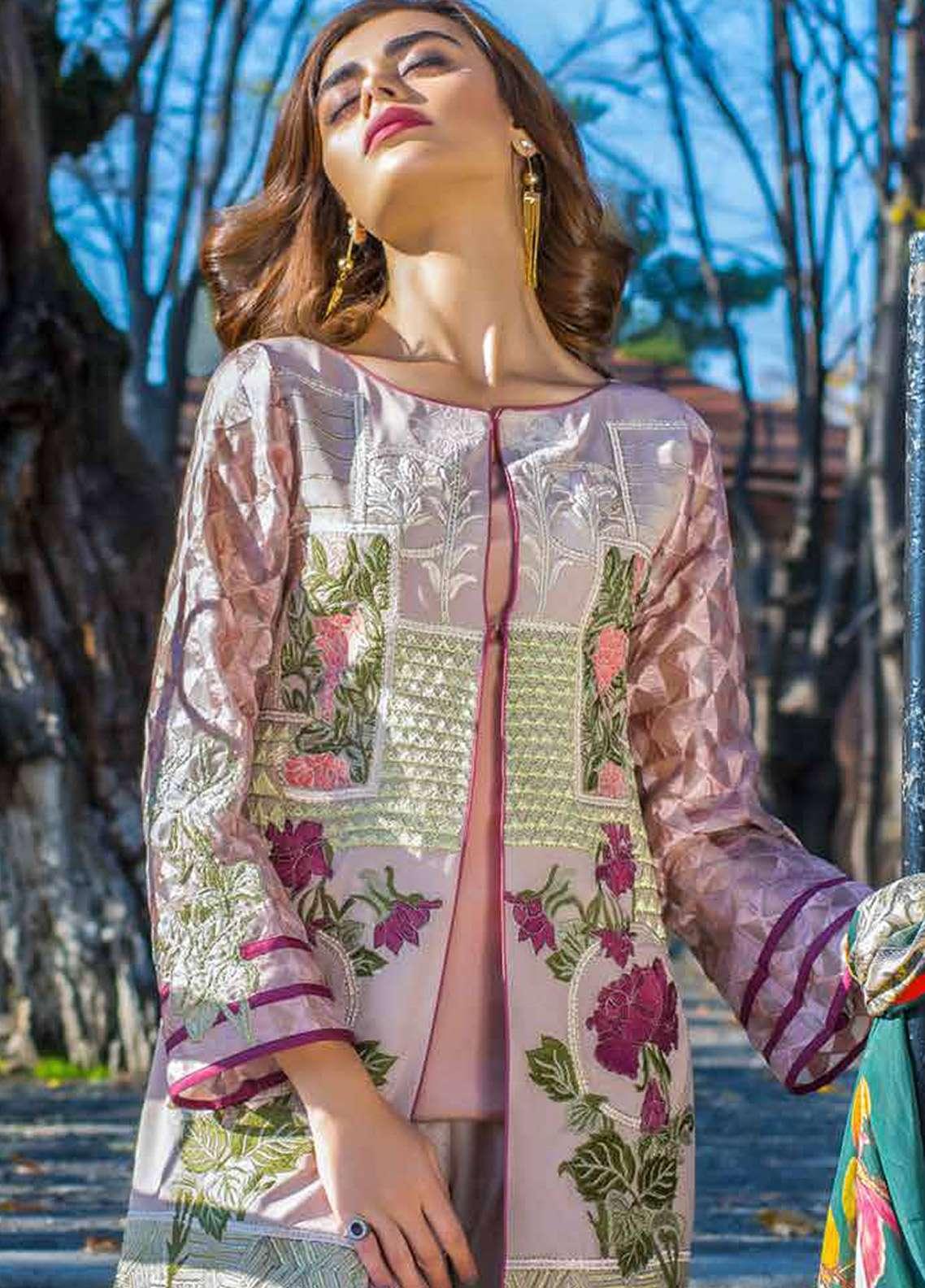Erum Khan Embroidered  Unstitched 3 Piece Suit EK18E3 02 - Eid Collection