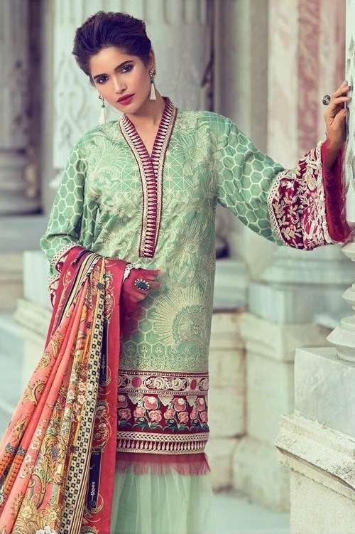 Elan Embroidered Chiffon Unstitched 3 Piece Suit El17E Safiye