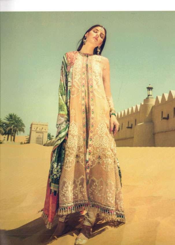 Elan Embroidered Silk Unstitched 3 Piece Suit El17W Al Marjan