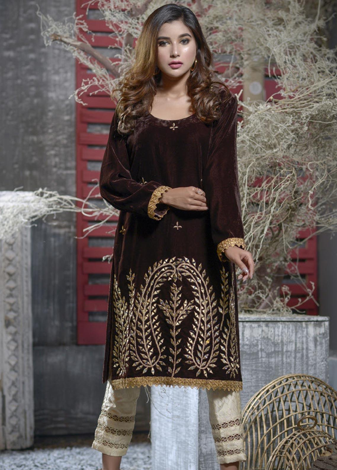 Elaheh Embroidered Velvet Unstitched Kurties ELH19V 1 - Winter Collection
