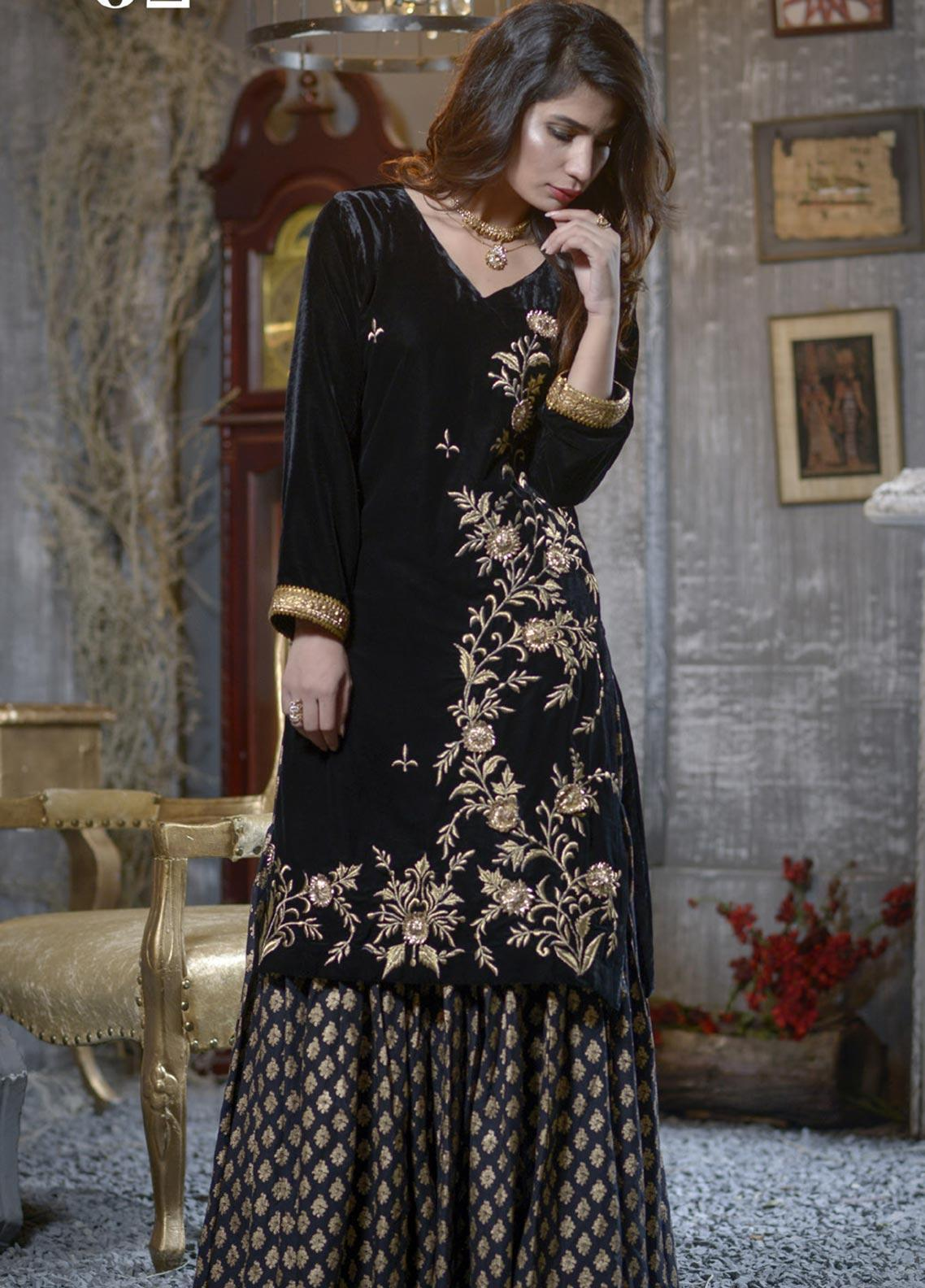 Elaheh Embroidered Velvet Unstitched Kurties ELH19V 2 - Winter Collection