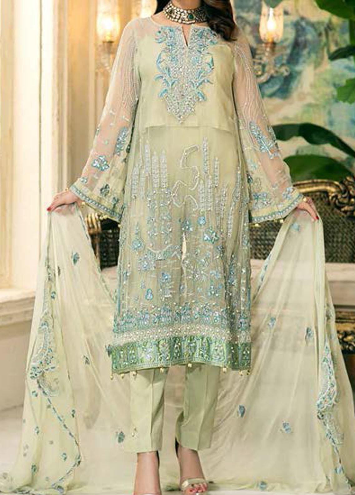 Elegance by Noor Jahan Embroidered Chiffon Unstitched 3 Piece Suit NJ20EC 04 Obsidain - Luxury Collection