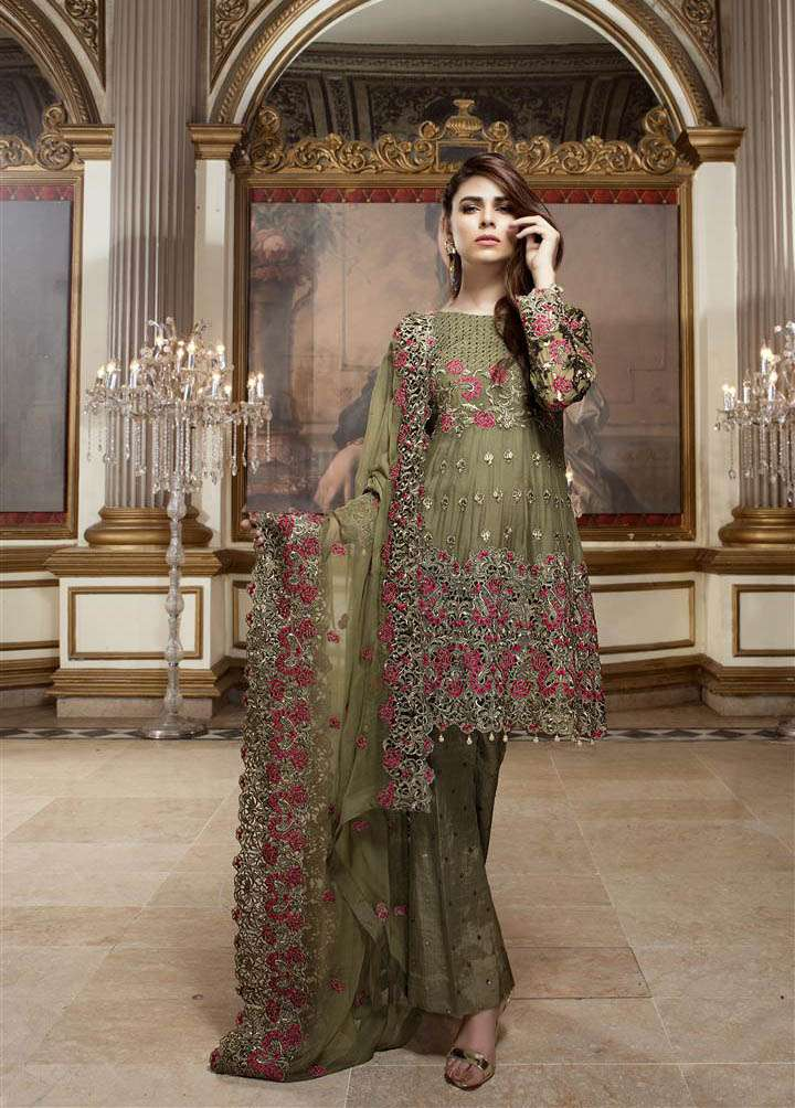 EmbRoyal Embroidered Chiffon Unstitched 3 Piece Suit EM17C Olive Duchess