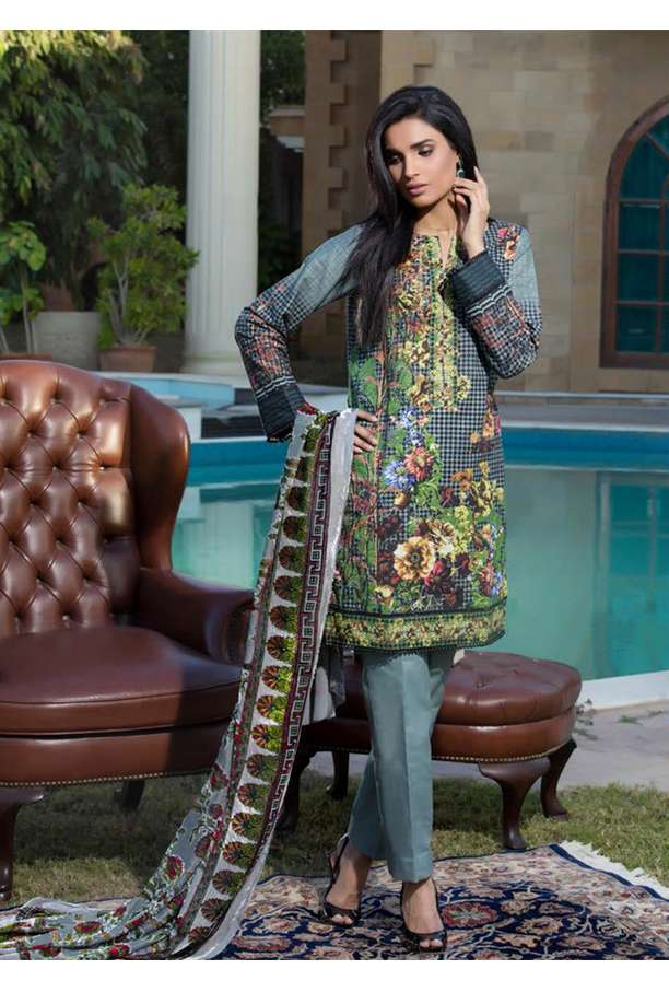 ZS Textile Printed Khaddar Unstitched 3 Piece Suit EM17W2 07