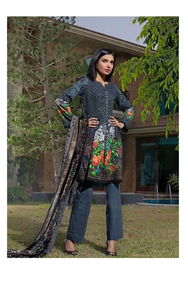 ZS Textile Printed Khaddar Unstitched 3 Piece Suit EM17W2 10