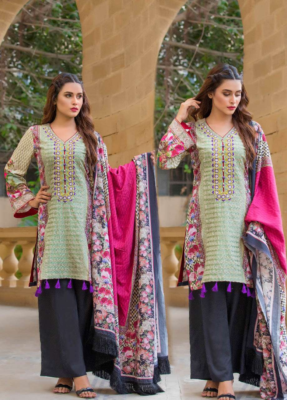ZS Textile Embroidered Linen Unstitched 3 Piece Suit EM17W 02