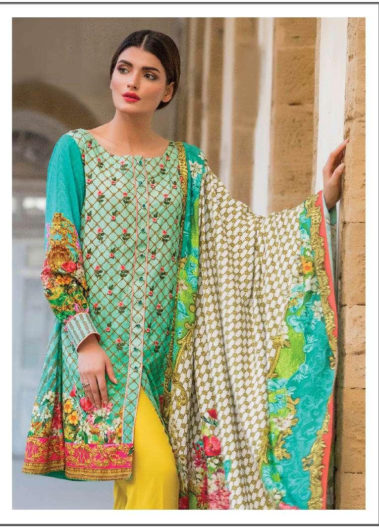 ZS Textile Embroidered Linen Unstitched 3 Piece Suit EM17W 05