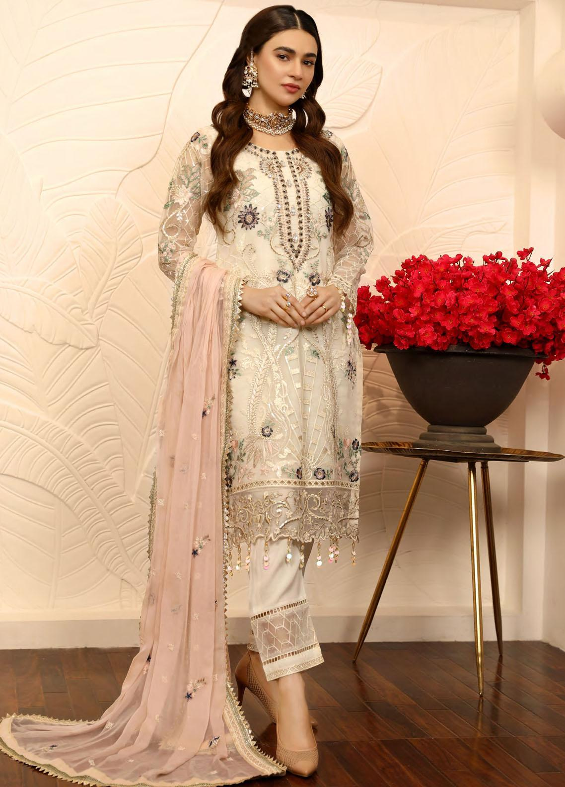 Emaan Adeel Embroidered Chiffon Suits Unstitched 3 Piece EA21LF LE-05 - Luxury Collection