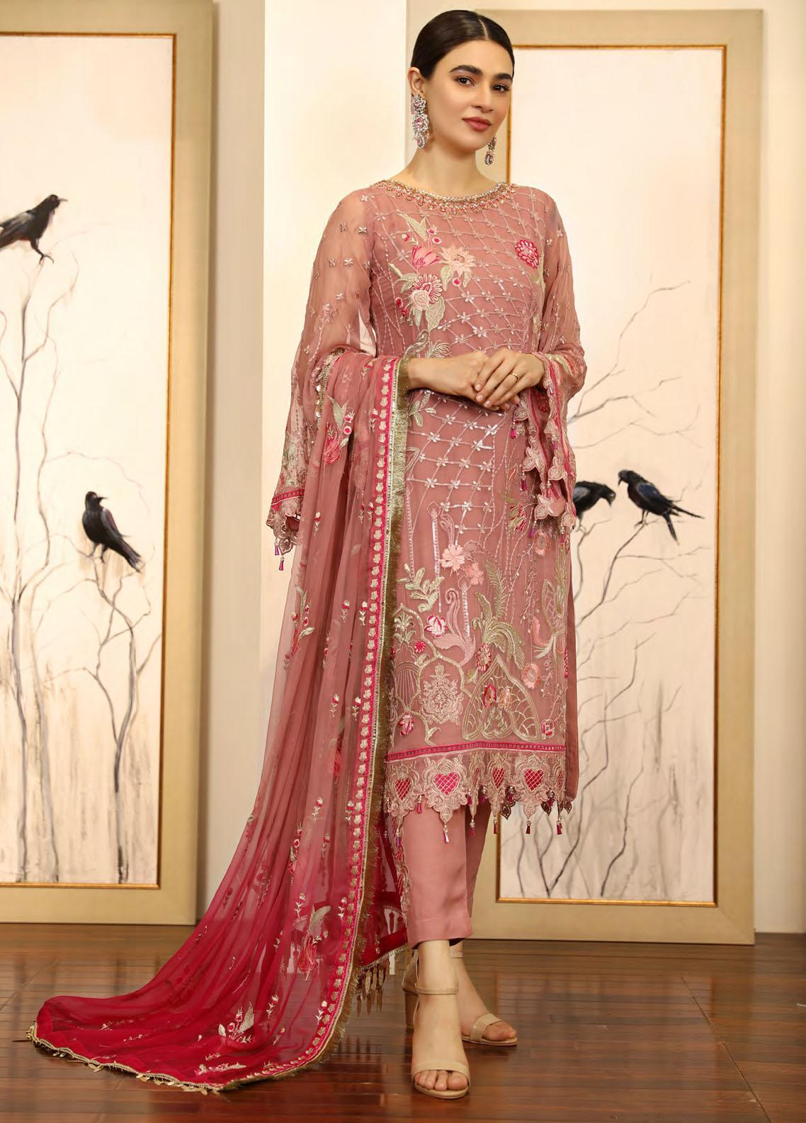 Emaan Adeel Embroidered Chiffon Suits Unstitched 3 Piece EA21LF LE-09 - Luxury Collection