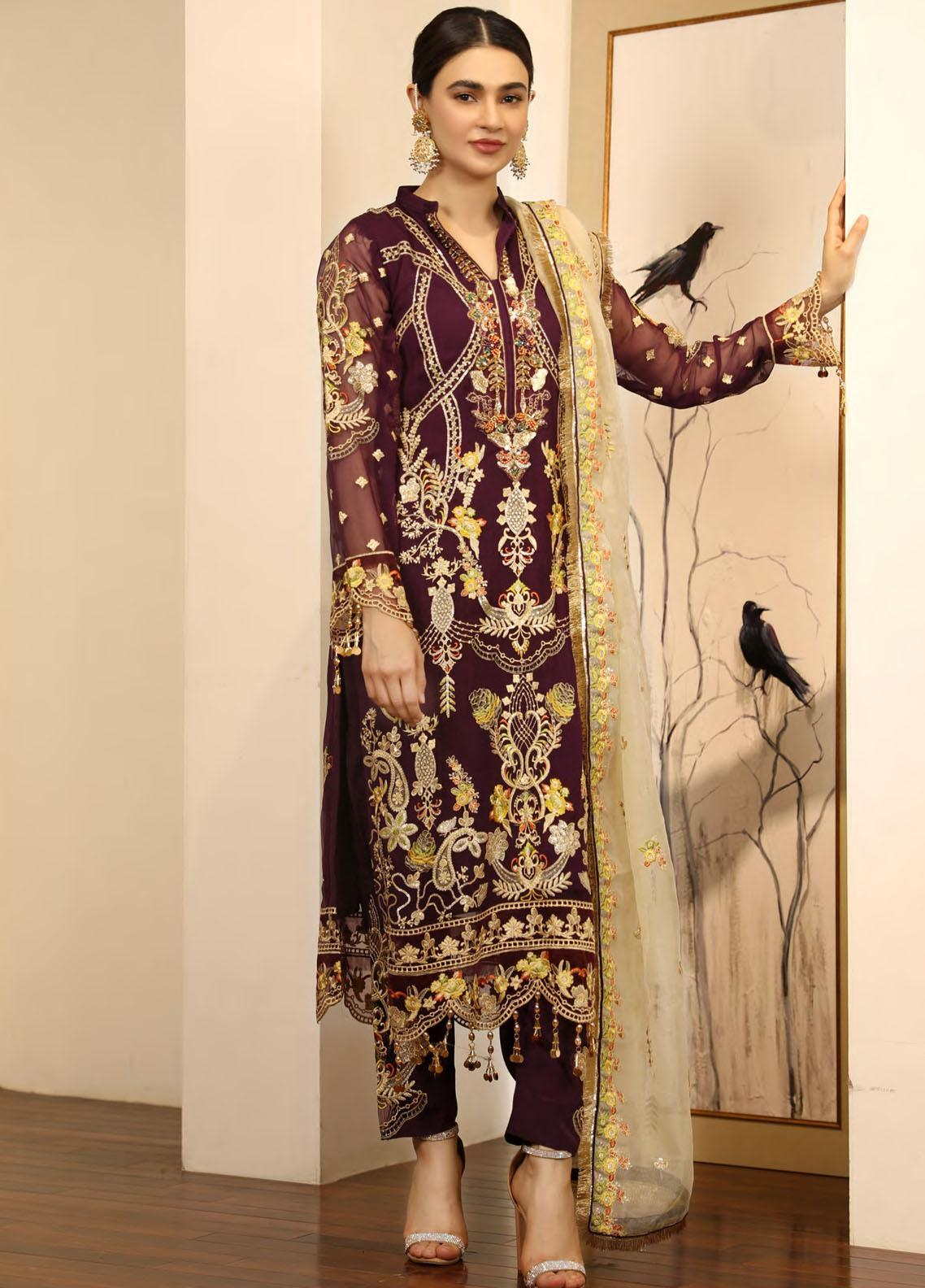 Emaan Adeel Embroidered Chiffon Suits Unstitched 3 Piece EA21LF LE-10 - Luxury Collection