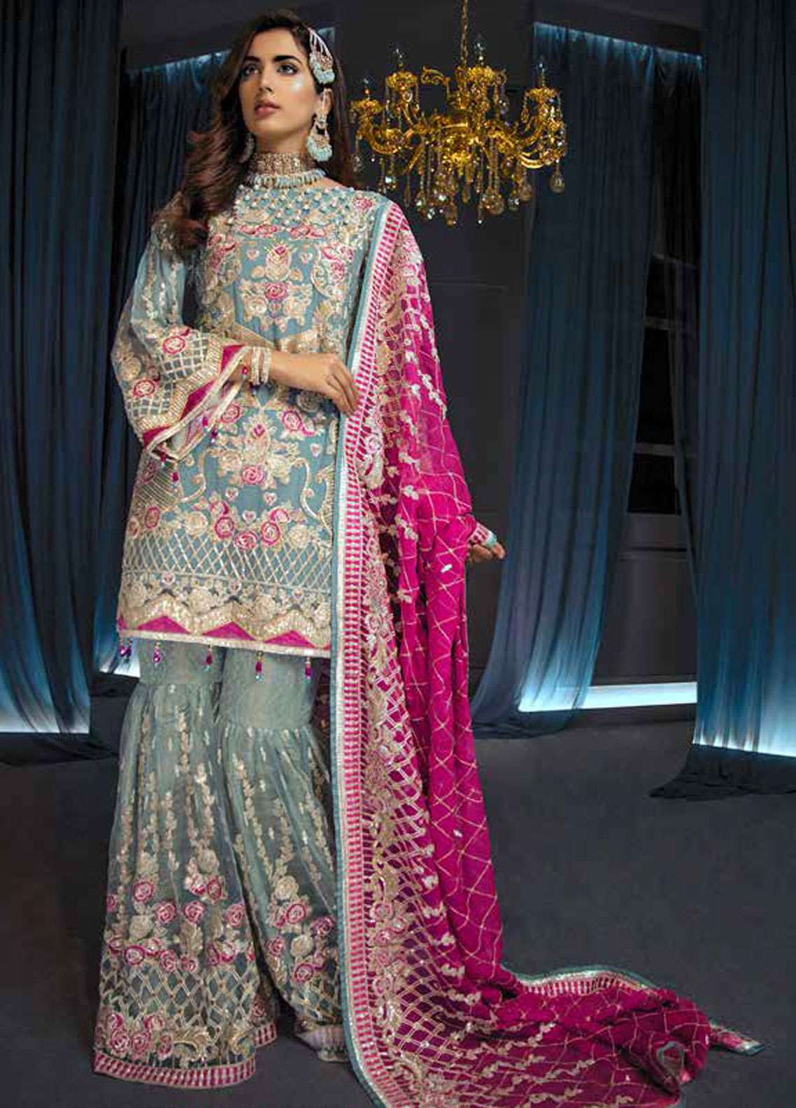 Emaan Adeel Embroidered Chiffon Unstitched 3 Piece Suit EA19C 101 PERIWINKLE PUNCH - Luxury Collection