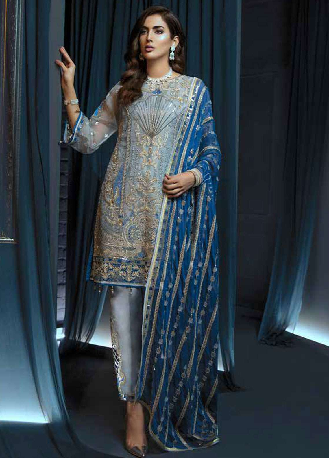 Emaan Adeel Embroidered Chiffon Unstitched 3 Piece Suit EA19C 108 BEJEWELED SEA - Luxury Collection