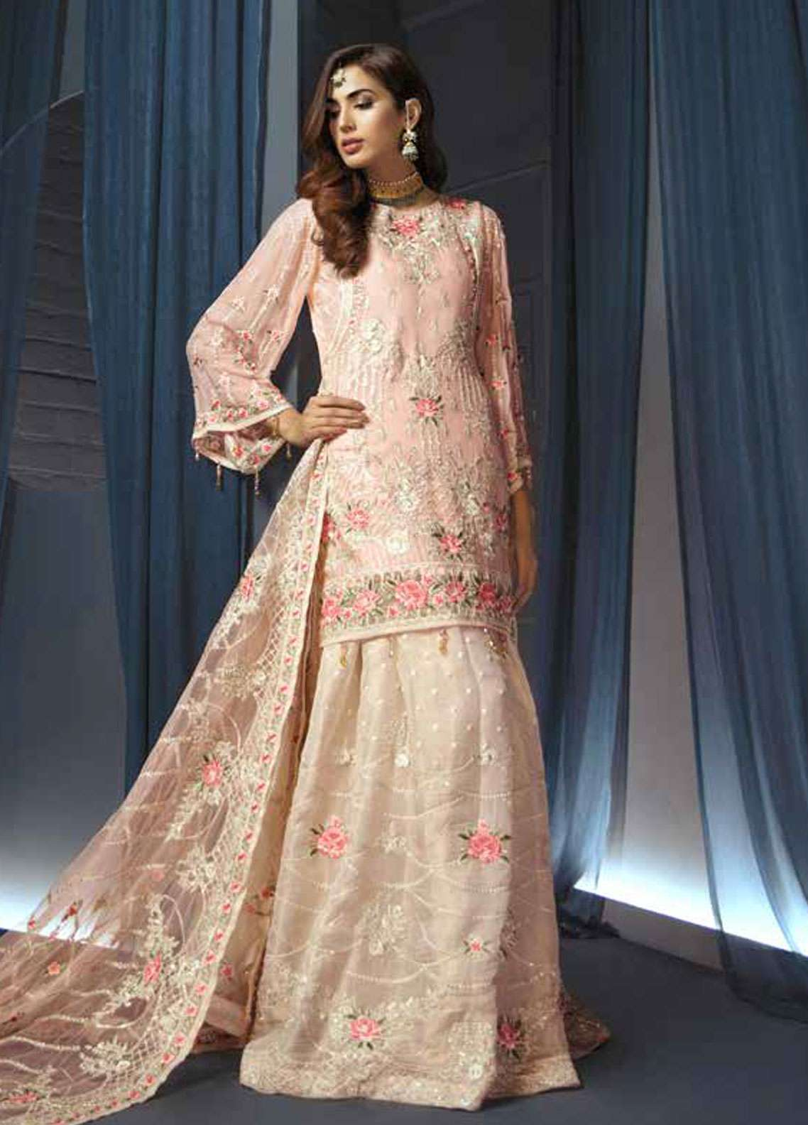 Emaan Adeel Embroidered Chiffon Unstitched 3 Piece Suit EA19C 110 SUNSET CHAMBER - Luxury Collection
