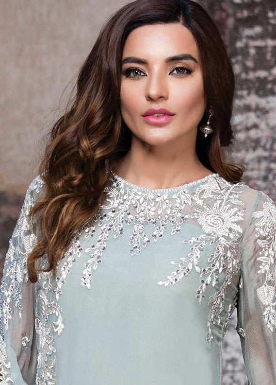 EmbRoyal Embroidered Chiffon Unstitched 3 Piece Suit EMB18C 01 Moonlight Dove - Festive Collection