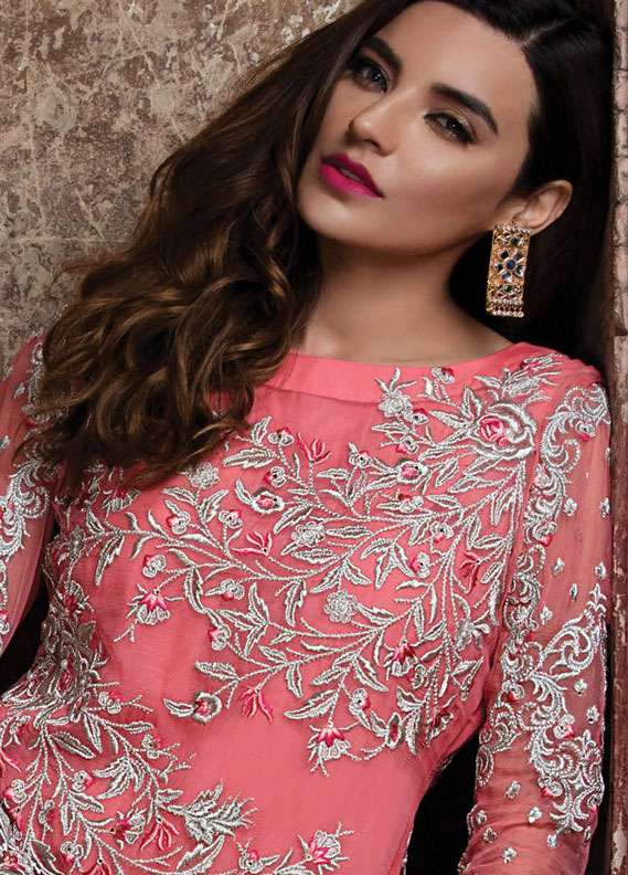 EmbRoyal Embroidered Chiffon Unstitched 3 Piece Suit EMB18C 07 Peach Shimmer - Festive Collection
