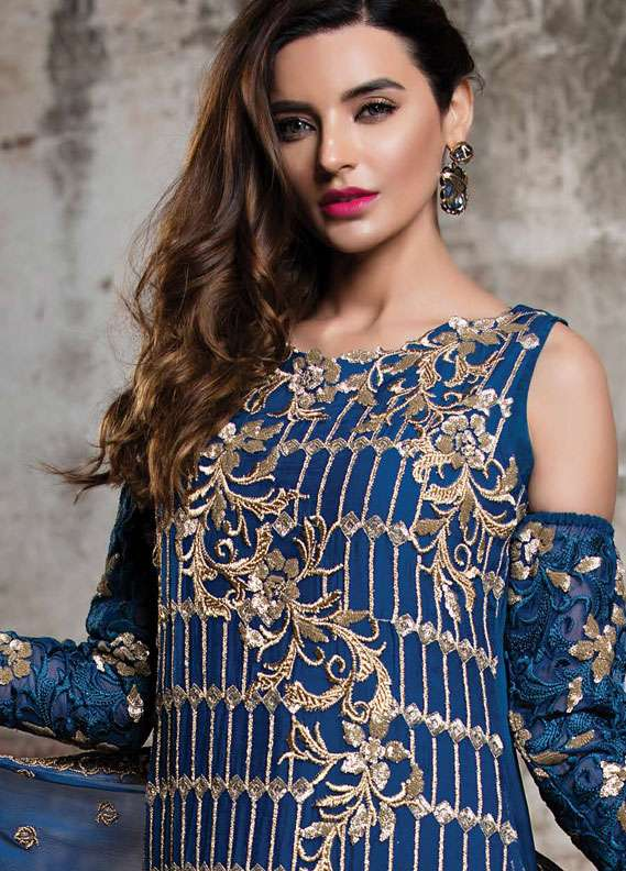 EmbRoyal Embroidered Chiffon Unstitched 3 Piece Suit EMB18C 08 Blue Bella - Festive Collection