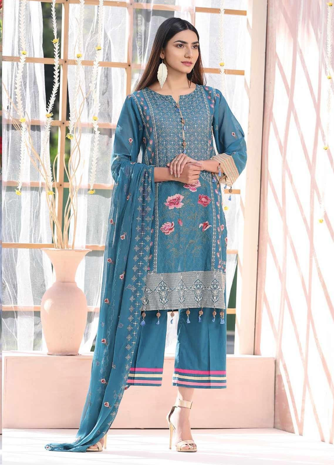 Puri Fabrics Embroidered Lawn Unstitched 3 Piece Suit PF20J 03 - Luxury Collection