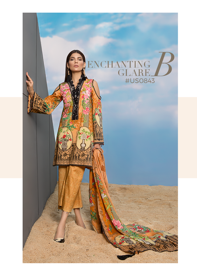 Sapphire Embroidered Viscose Unstitched 3 Piece Suit SP17W Enchanting Glare B