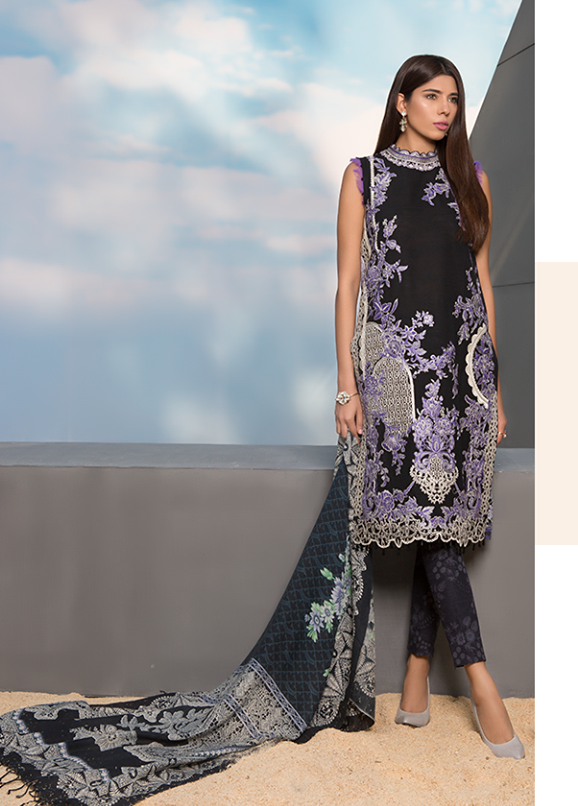 Sapphire Embroidered Khaddar Unstitched 3 Piece Suit SP17W Enlaced Essence A