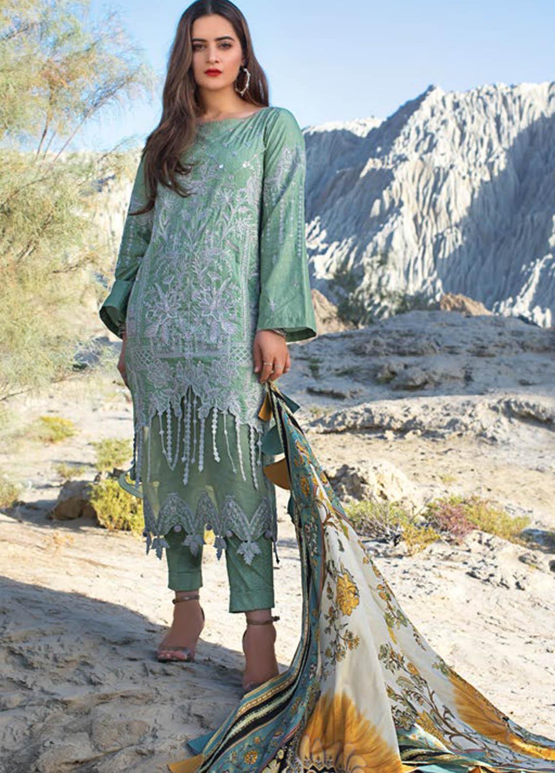 Erum Khan Embroidered Lawn Suits Unstitched 3 Piece EK21L 02 Pistachio Selene - Luxury Summer Collection