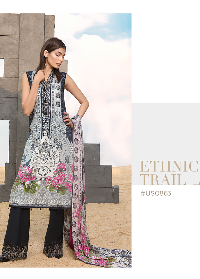 Sapphire Embroidered Khaddar Unstitched 2 Piece Suit SP17W Ethnic Trail B