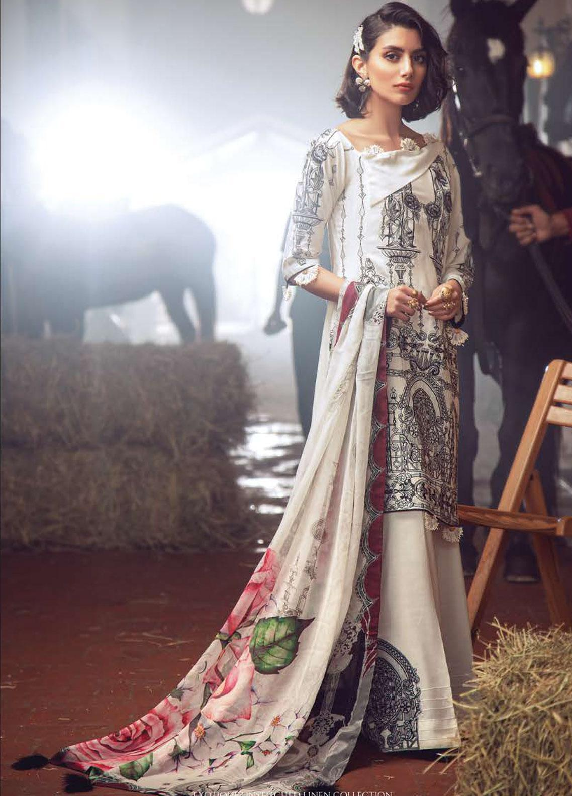Exotique by Iqra Reza Embroidered Linen Unstitched 3 Piece Suit EX19LN 03 BEYAZ - Winter Collection