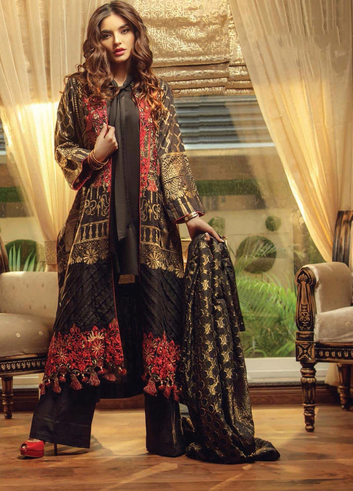 Exotique by Iqra Reza Embroidered Jacquard Unstitched 3 Piece Suit EX19IR NOIR - Luxury Collection