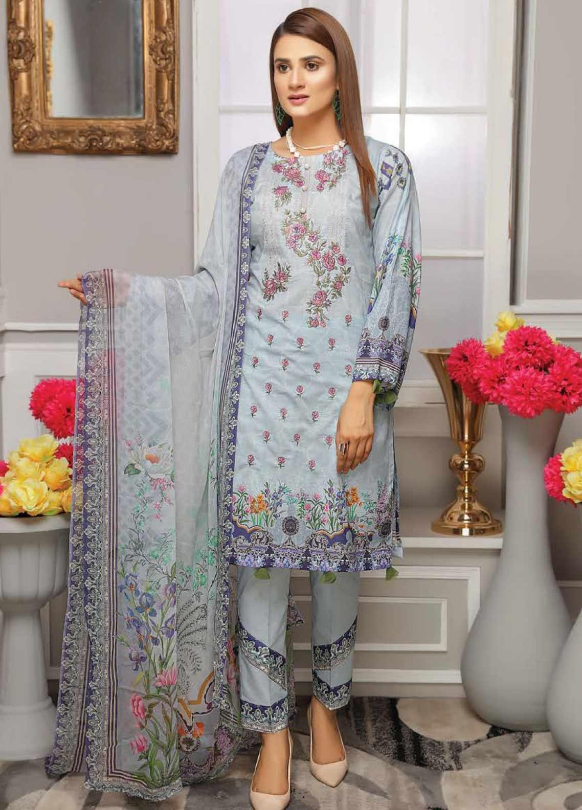 Fabura by Sanam Saeed Embroidered Lawn Unstitched 3 Piece Suit PF20FB 6 - Spring / Summer Collection