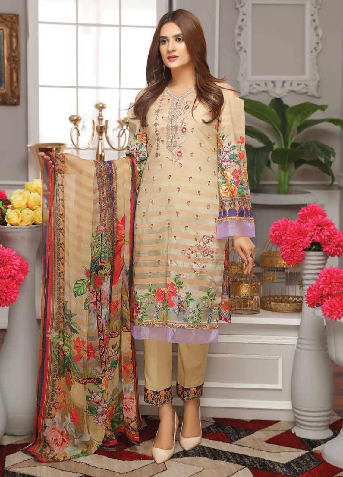 Fabura by Sanam Saeed Embroidered Lawn Unstitched 3 Piece Suit PF20FB 7 - Spring / Summer Collection