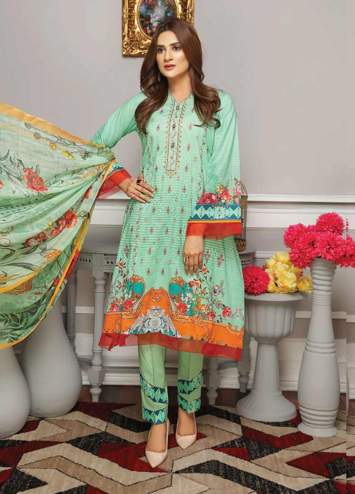 Fabura by Sanam Saeed Embroidered Lawn Unstitched 3 Piece Suit PF20FB 9 - Spring / Summer Collection
