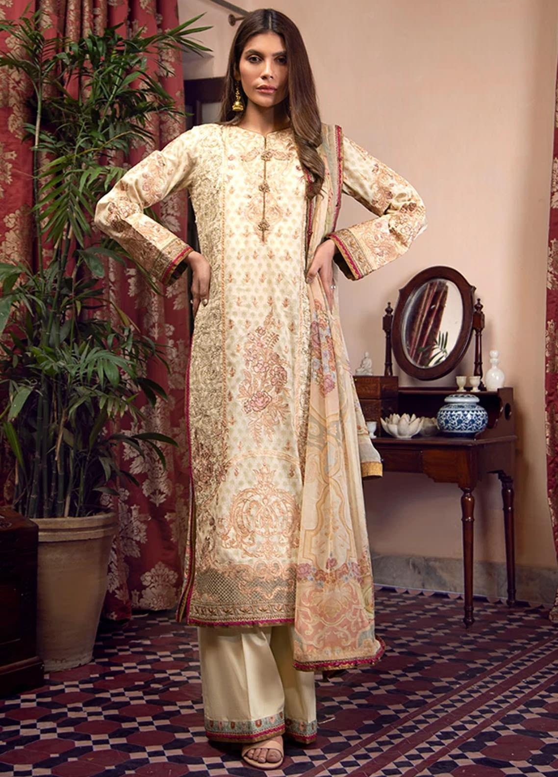 Fahad Hussayn Embroidered Lawn Suits Unstitched 3 Piece FH21SE D-02 - Luxury Collection