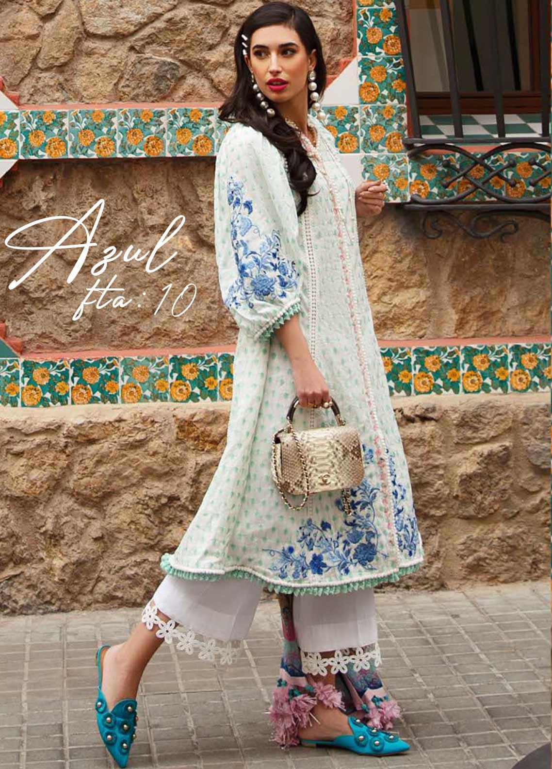 Farah Talib Embroidered Lawn Unstitched 3 Piece Suit FTA20SS 10 Azul - Spring / Summer Collection