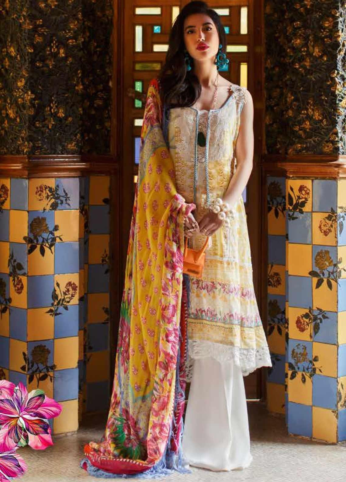 Farah Talib Embroidered Lawn Unstitched 3 Piece Suit FTA20SS 11 Amarilla Lemon - Spring / Summer Collection