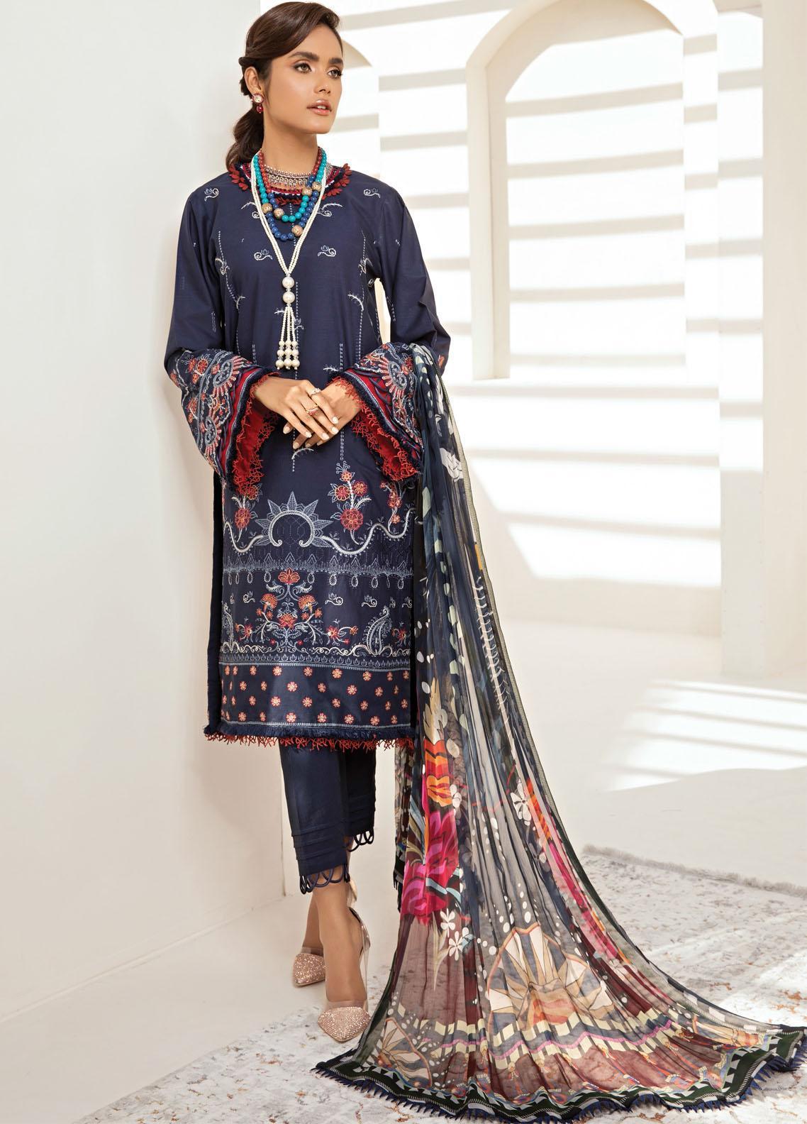 Farasha Embroidered Lawn Suits Unstitched 3 Piece FSH21-L2 01 Navy Romance - Festive Collection