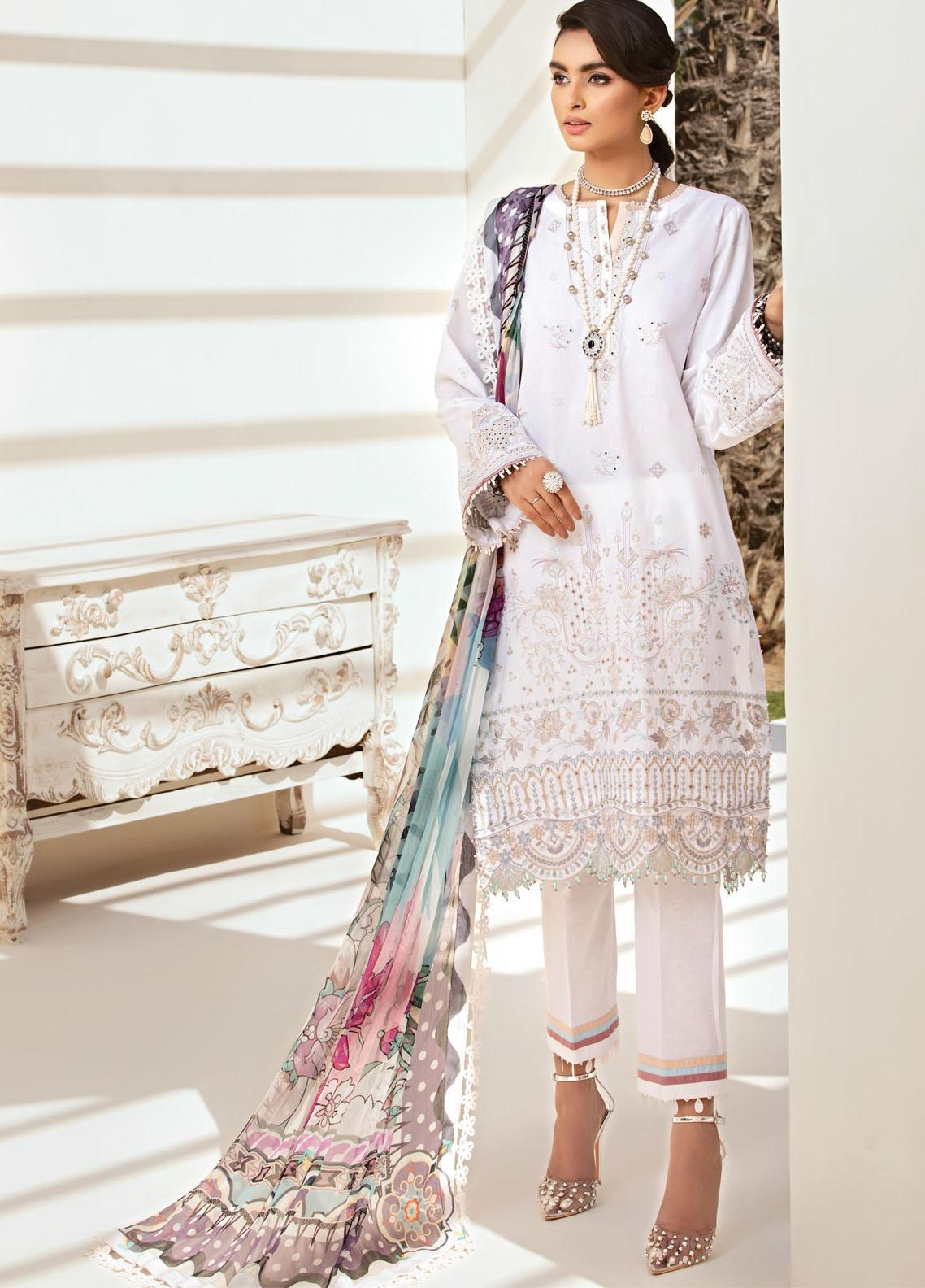 Farasha Embroidered Lawn Suits Unstitched 3 Piece FSH21-L2 02 Mystic Ivory - Festive Collection
