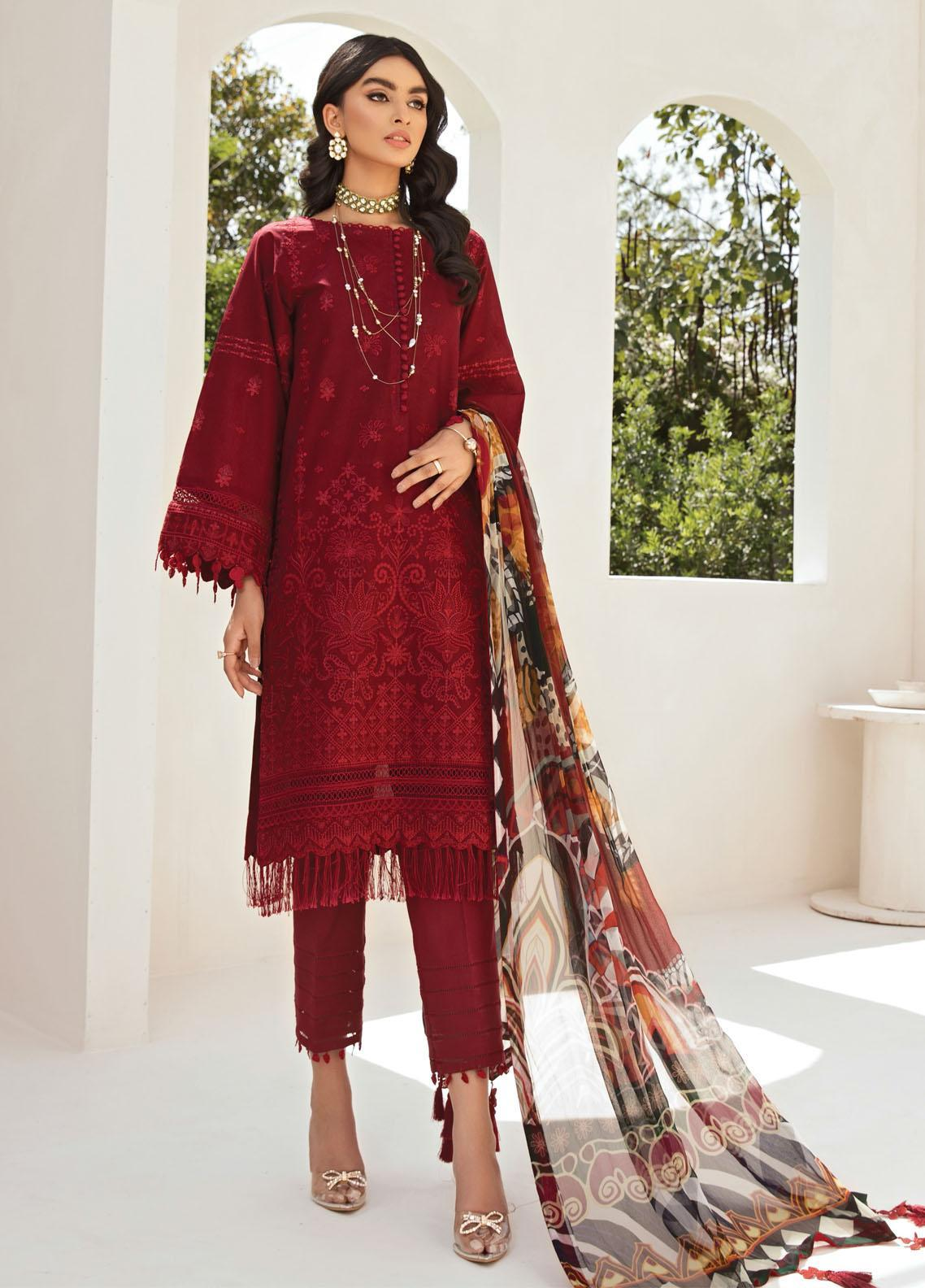 Farasha Embroidered Lawn Suits Unstitched 3 Piece FSH21-L2 04 Scarlet Musk - Festive Collection