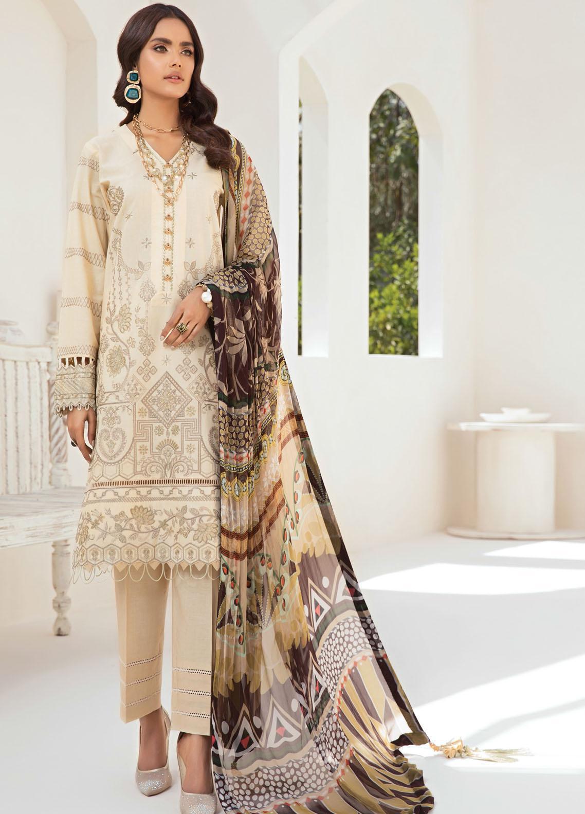 Farasha Embroidered Lawn Suits Unstitched 3 Piece FSH21-L2 05 Autumn Wind - Festive Collection