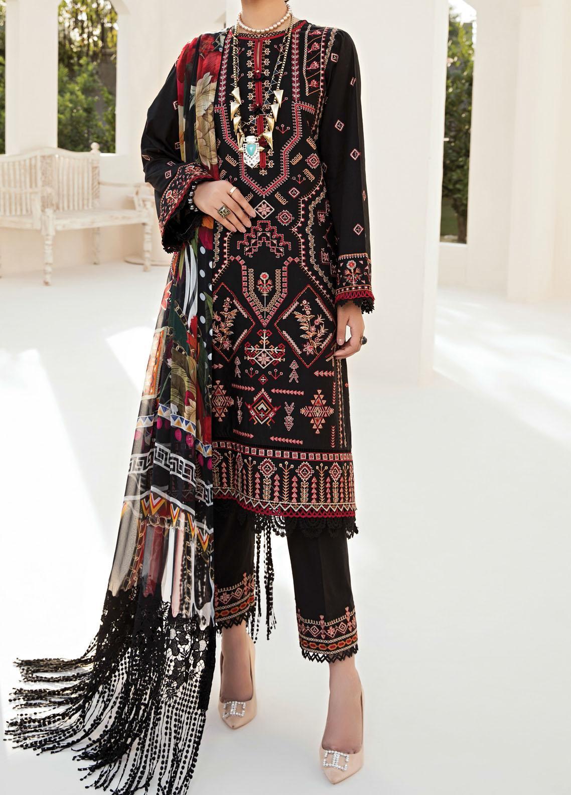 Farasha Embroidered Lawn Suits Unstitched 3 Piece FSH21-L2 06 Black Treasure - Festive Collection