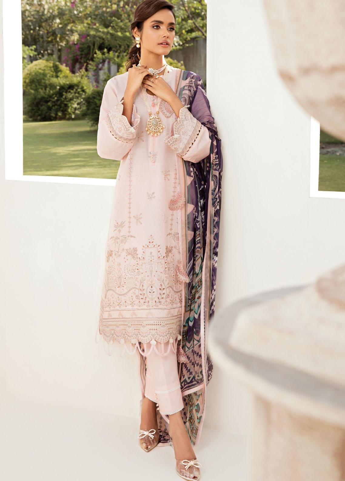 Farasha Embroidered Lawn Suits Unstitched 3 Piece FSH21-L2 08 Pink Flora - Festive Collection