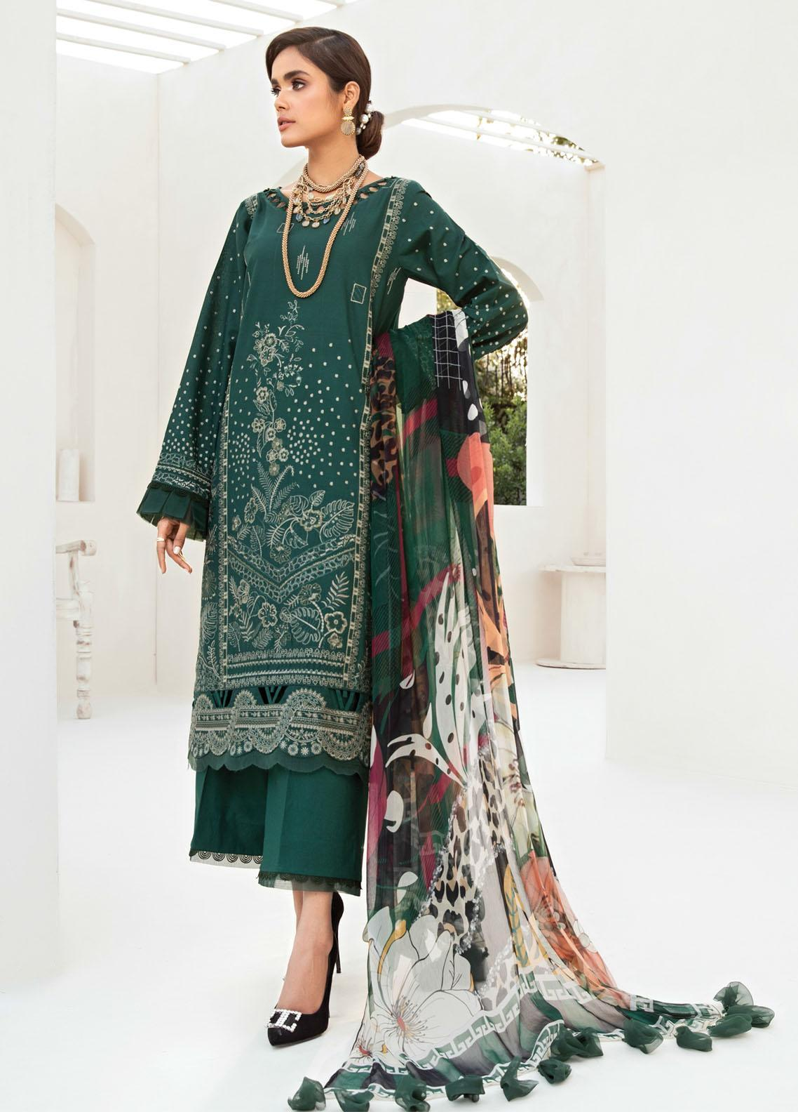 Farasha Embroidered Lawn Suits Unstitched 3 Piece FSH21-L2 09 Green Valley - Festive Collection