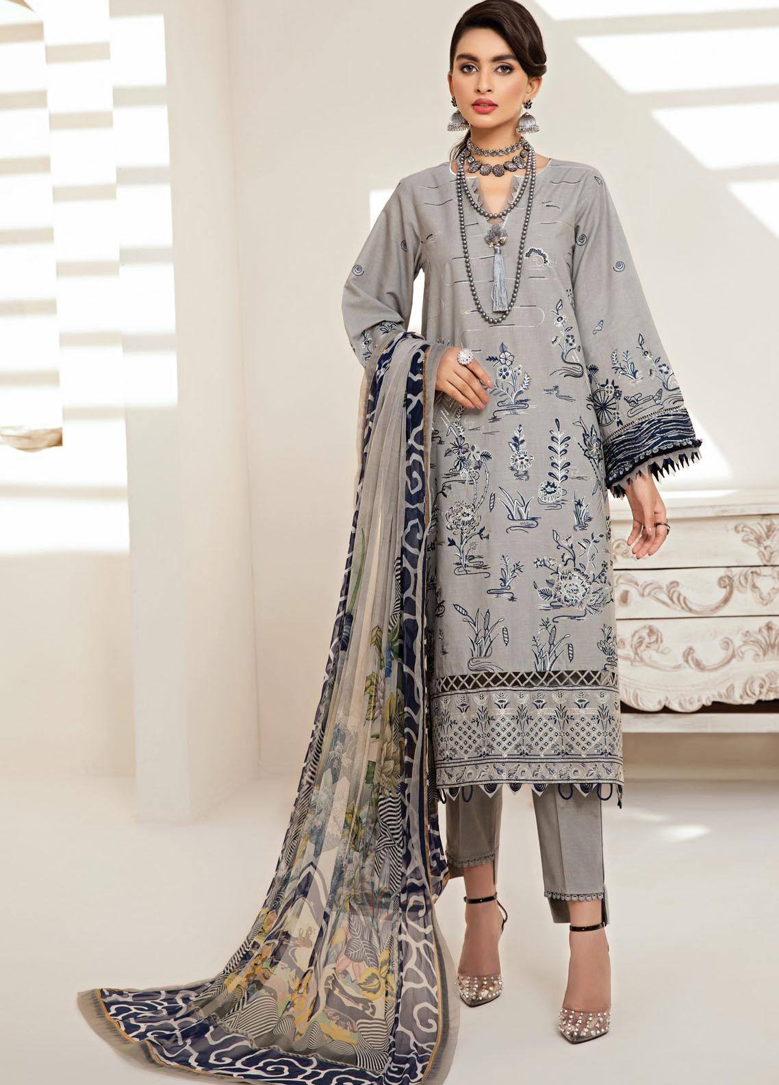 Farasha Embroidered Lawn Suits Unstitched 3 Piece FSH21-L2 10 Earl Grey - Festive Collection