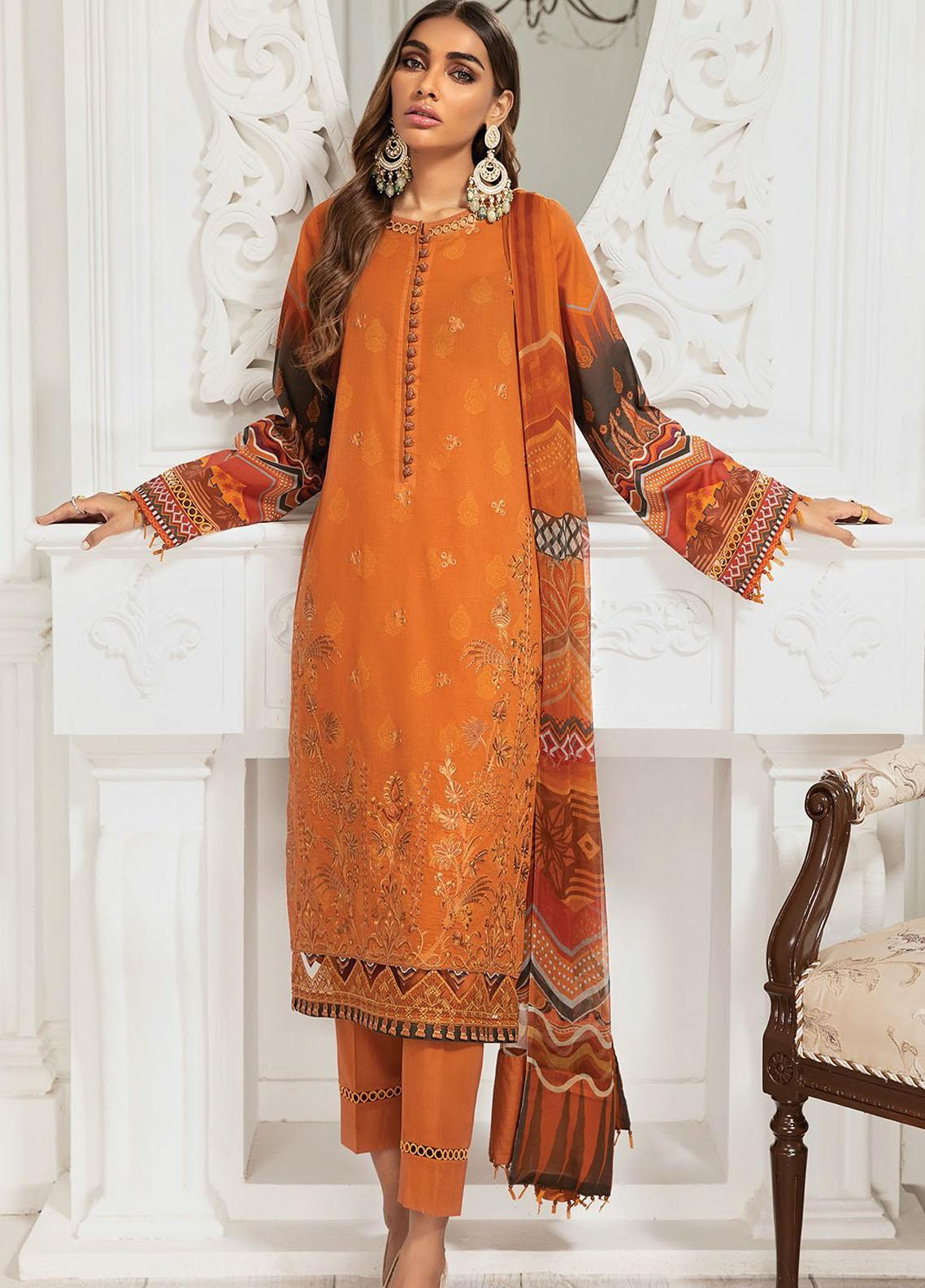 Farasha Embroidered Lawn Suits Unstitched 3 Piece FSH21-L3 01 Rust Fire - Festive Collection