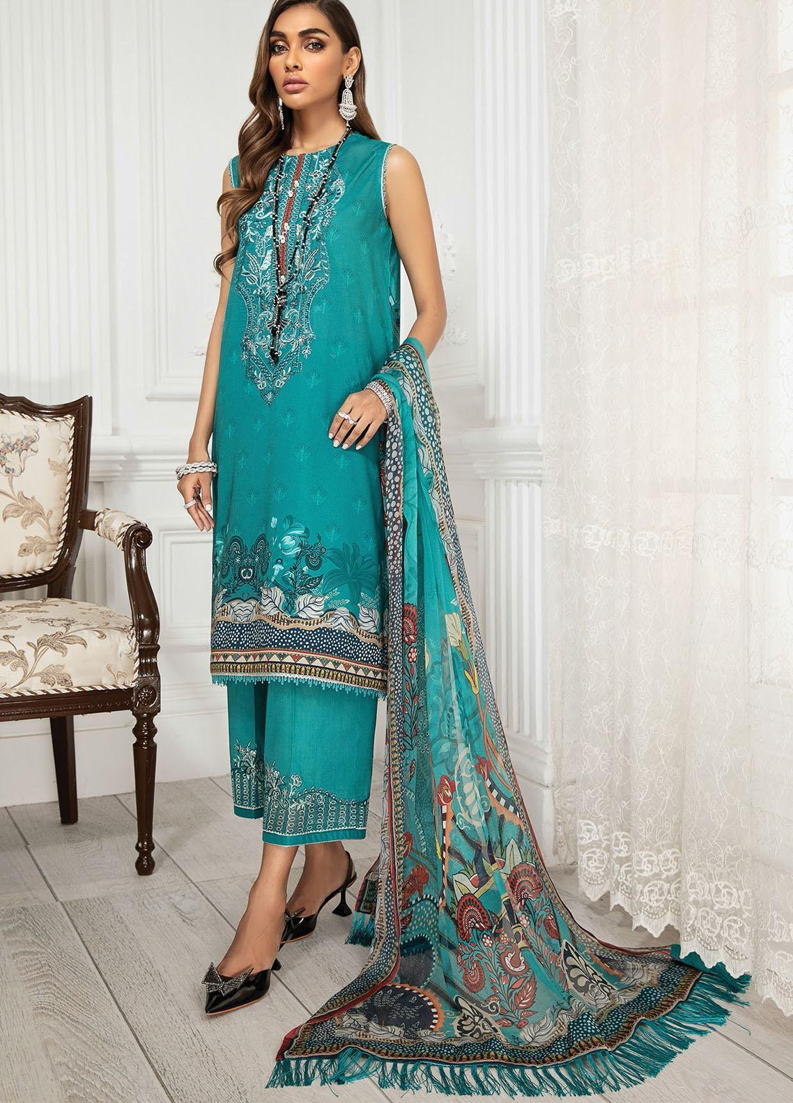 Farasha Embroidered Lawn Suits Unstitched 3 Piece FSH21-L3 03 Crown Jewel - Festive Collection