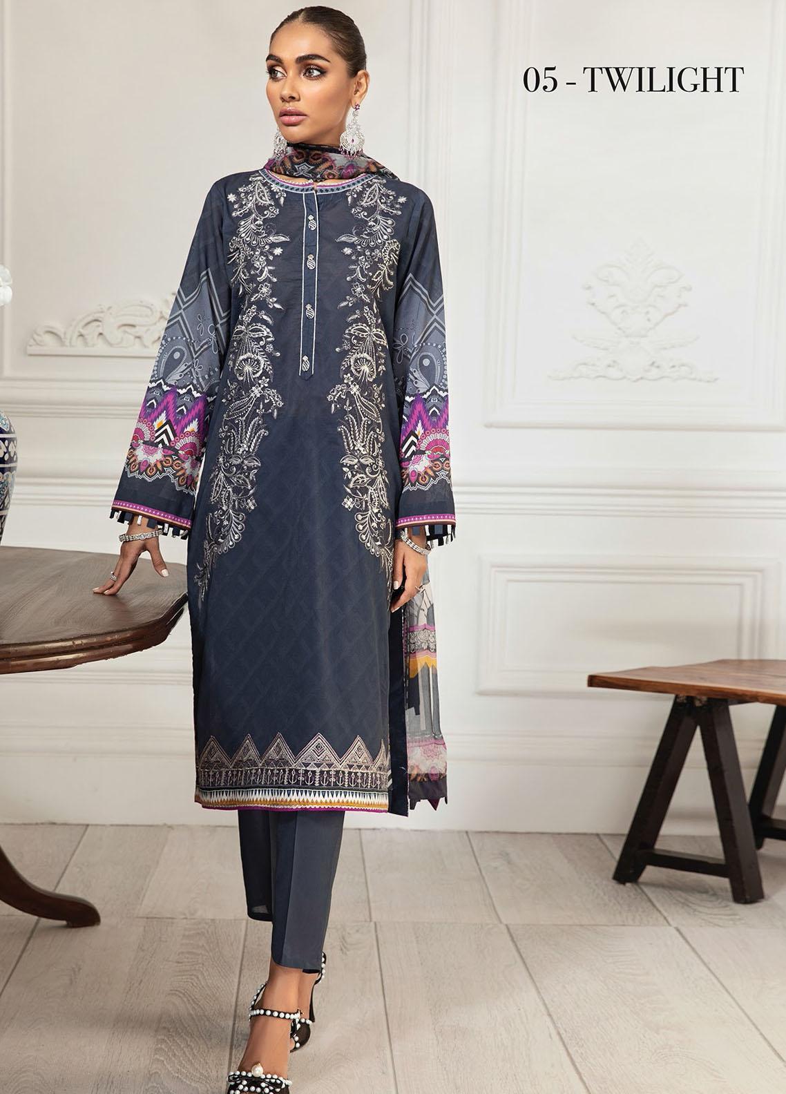 Farasha Embroidered Lawn Suits Unstitched 3 Piece FSH21-L3 05 Twilight - Festive Collection