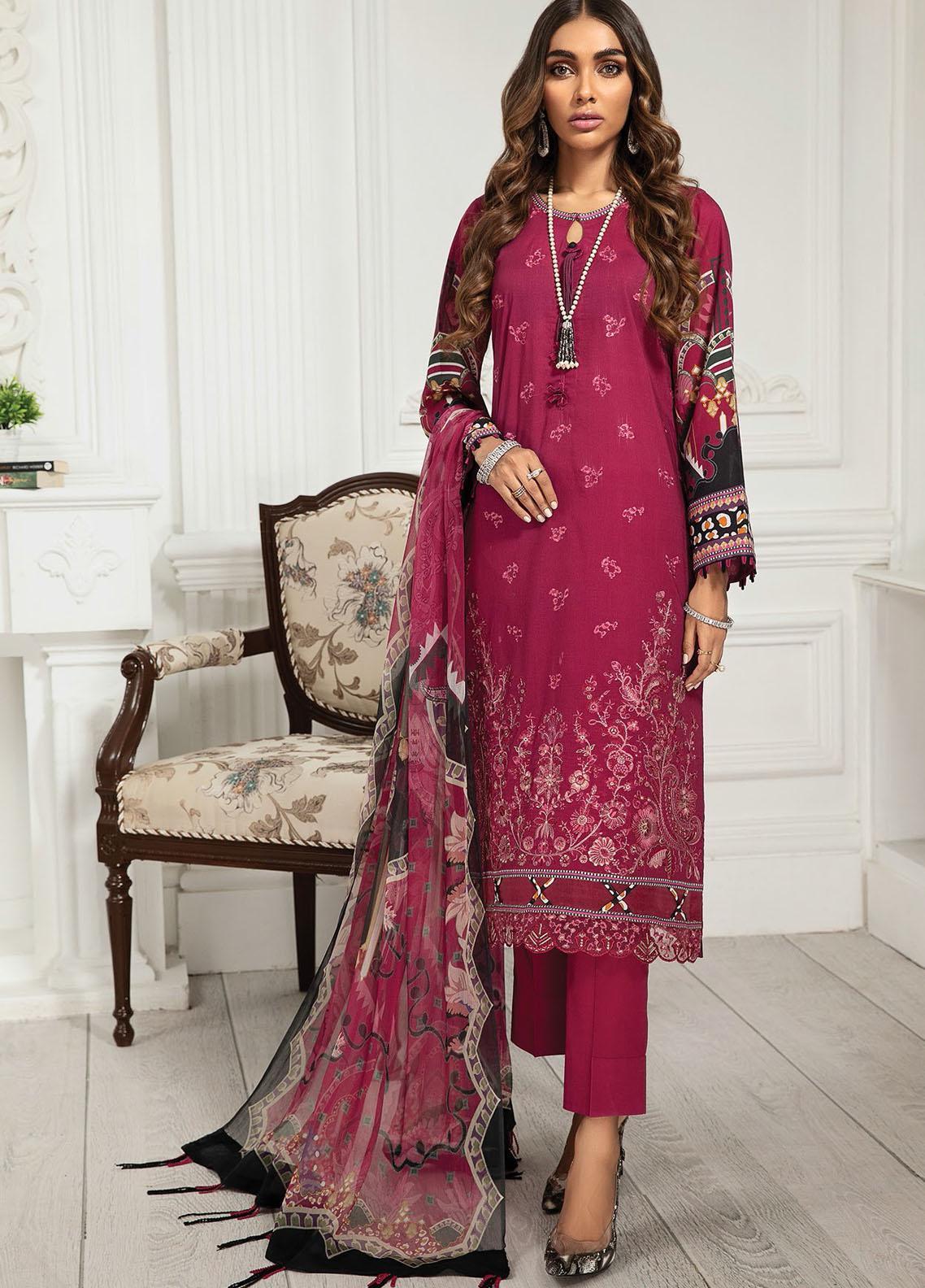 Farasha Embroidered Lawn Suits Unstitched 3 Piece FSH21-L3 06 Fuchsia Rose - Festive Collection