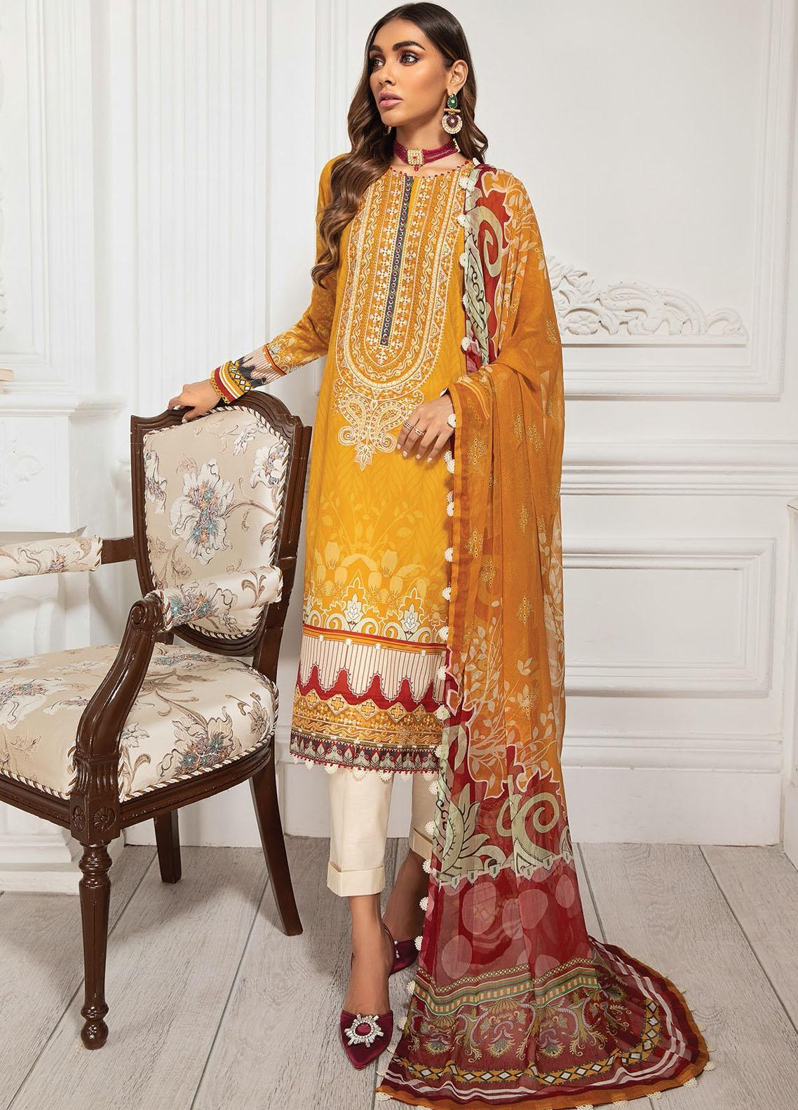 Farasha Embroidered Lawn Suits Unstitched 3 Piece FSH21-L3 08 Marigold - Festive Collection