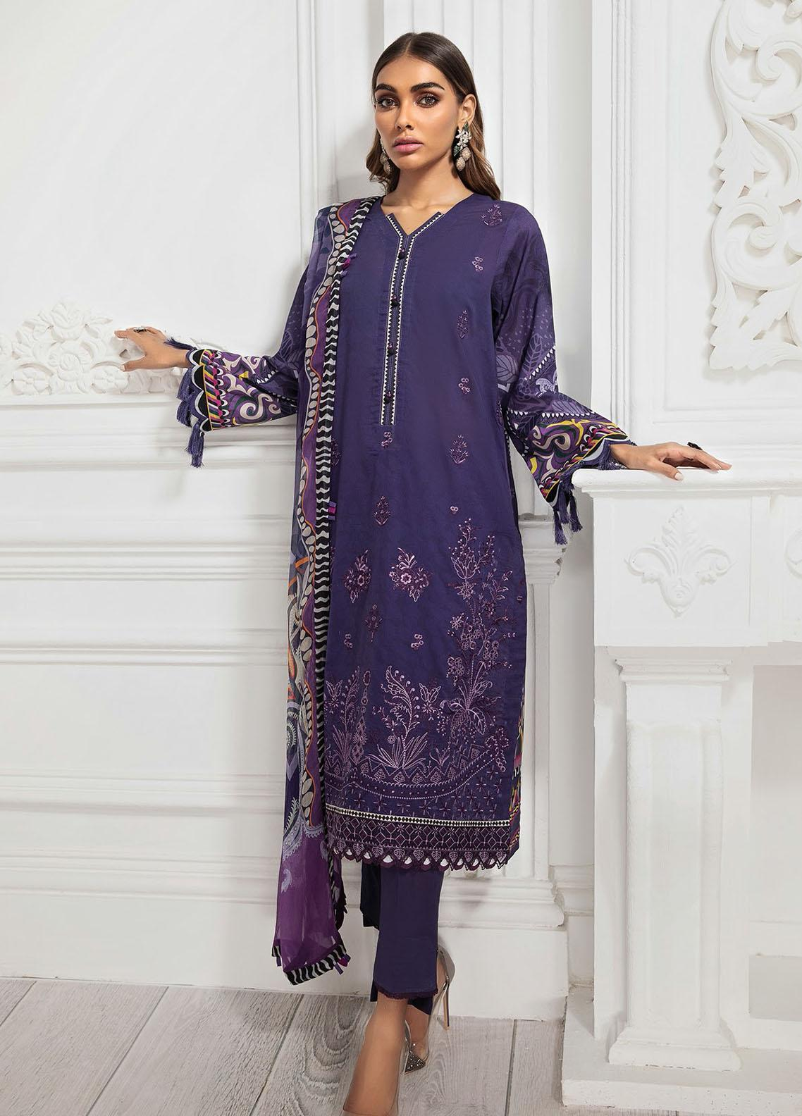 Farasha Embroidered Lawn Suits Unstitched 3 Piece FSH21-L3 09 Amethyst - Festive Collection