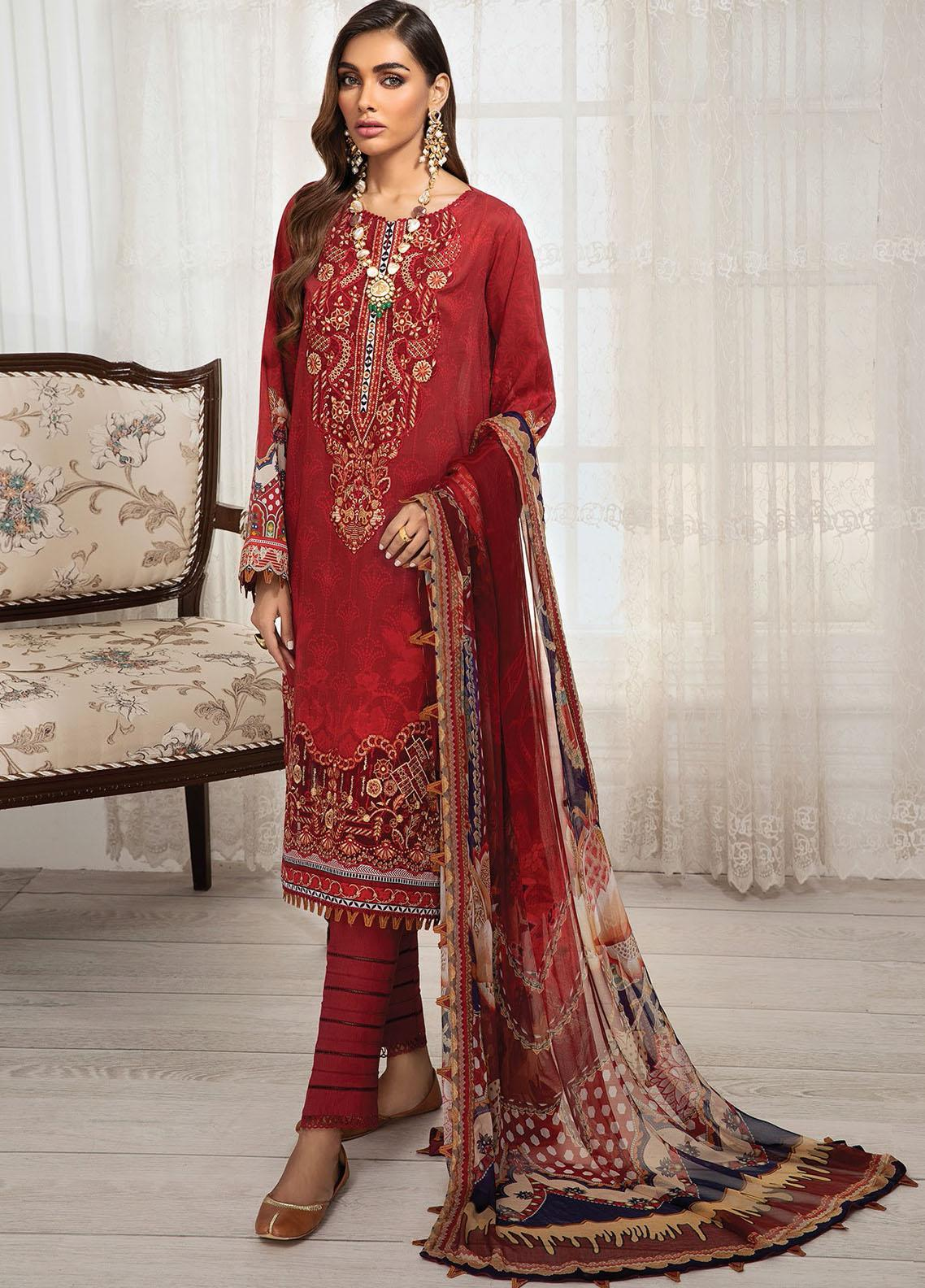Farasha Embroidered Lawn Suits Unstitched 3 Piece FSH21-L3 10 Firethorn - Festive Collection