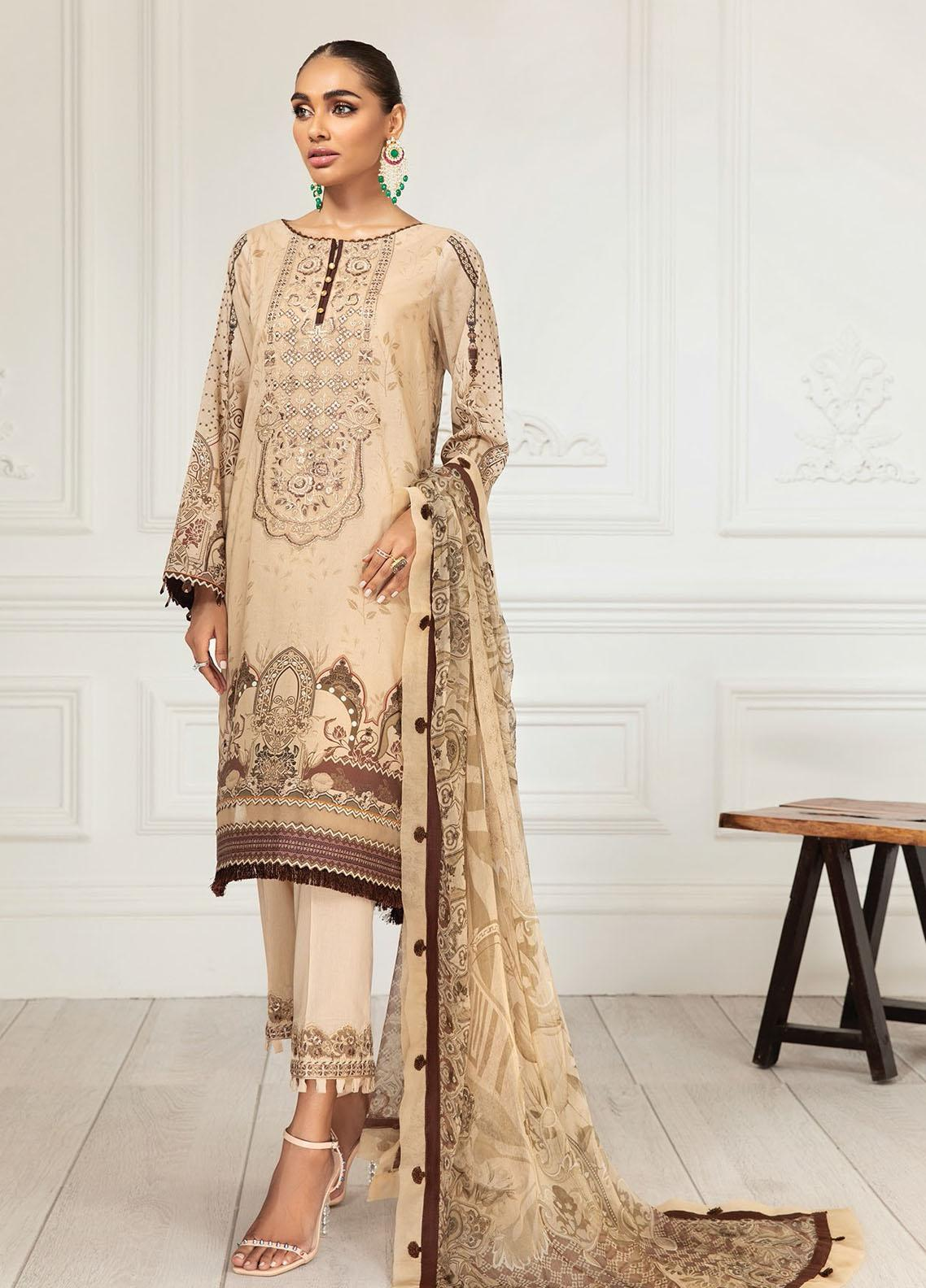 Farasha Embroidered Lawn Suits Unstitched 3 Piece FSH21-L3 12 Ivy Gold - Festive Collection